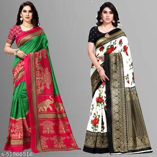 Set of 2, Art Silk Sarees with Blouse Piece