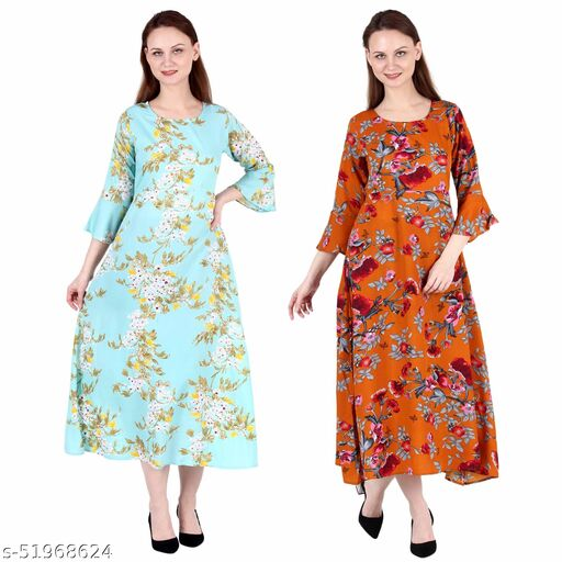 Giggles Creations A Line Dress with Inner Cotton Lining See Green Printed and Orange Printed Pack of 2