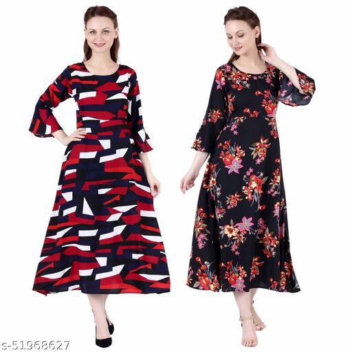 Giggles Creations A Line Dress with Inner Cotton Lining Abstract Print and Black Silver Pack of 2