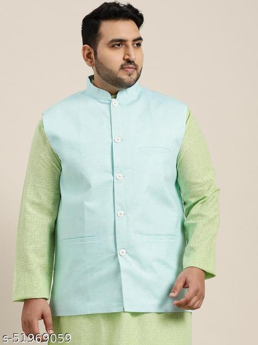 Sojanya (Since 1958) Men's Cotton Linen Blend Sky Blue Nehru Jacket