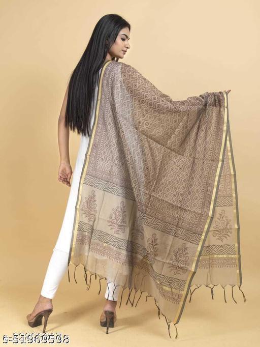 Women Super Chanderi hand Block Brown Color Dupatta