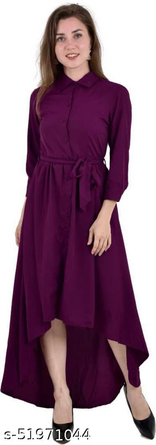 Umiko Women's Solid Color High- Low Dress