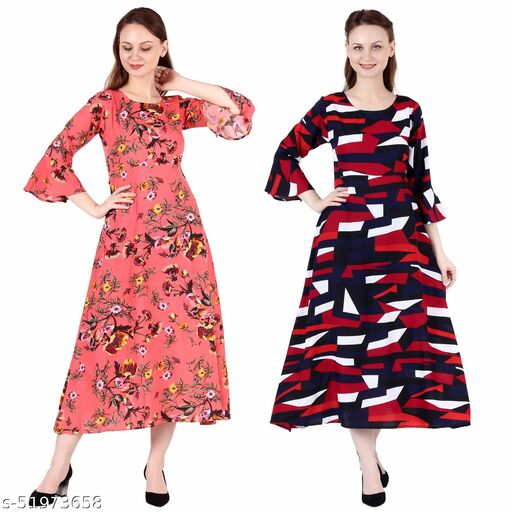 Giggles Creations A Line Dress with Inner Cotton Lining Coral Printed and Abstract Print Pack of 2