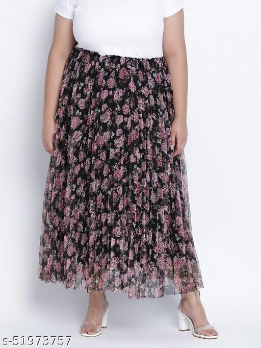 Black bean net printed and pleated lined Plus skirt