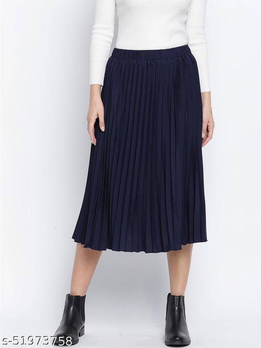 Blazed blue pleated women skirt