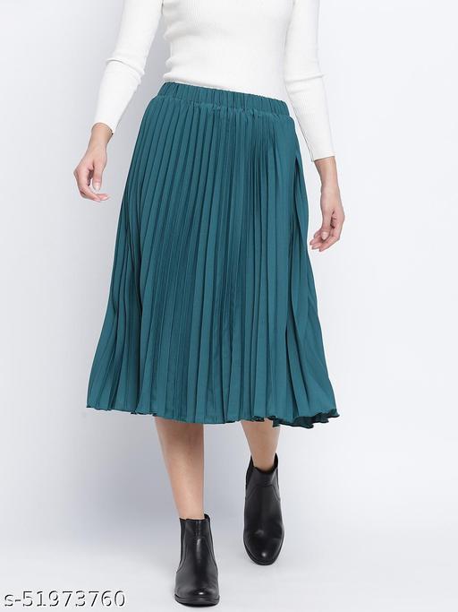 Sea green pleated women skirt