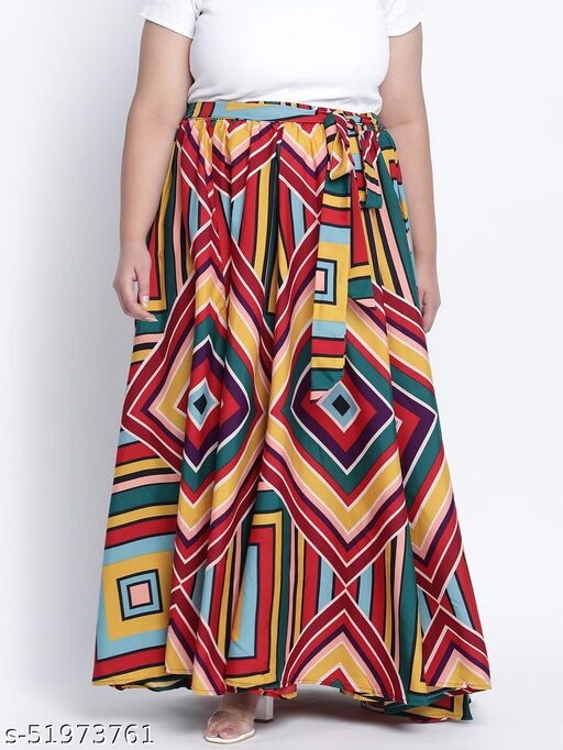 Speckled bright Gathered flared Plus skirt
