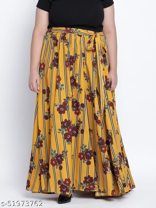 Sizzlling sunny floral print plus size skirt
