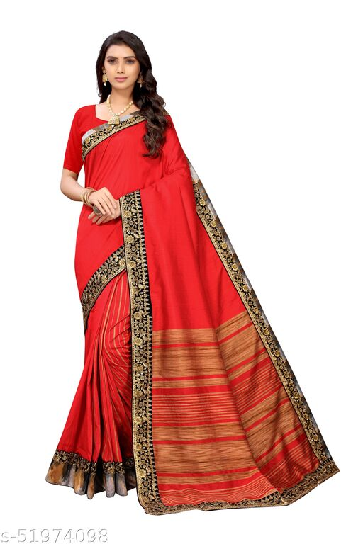 Weaving And Patch Bordered 5.5 mtr red silk saree with solid unstitched 0.8 mtr blouse piece