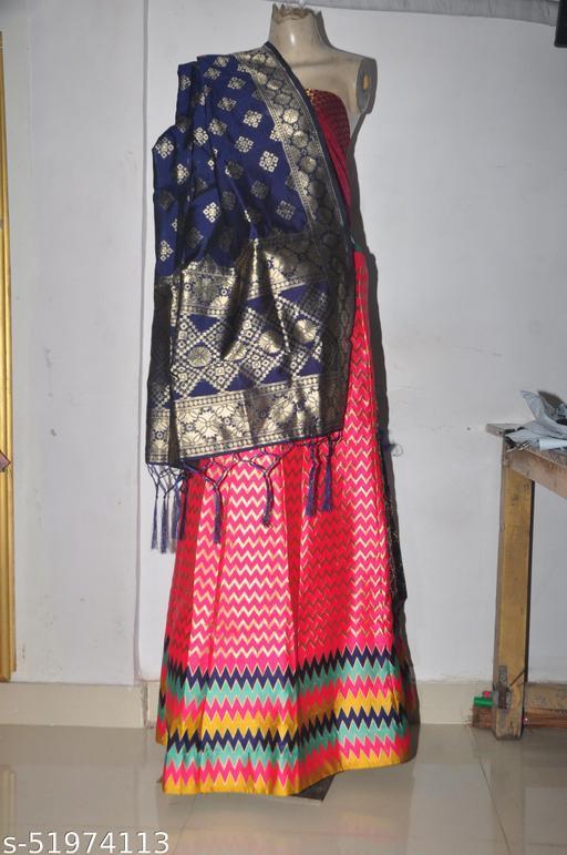 Chanderi Silk Designer Zari Work Banarasi Lehanga With Blouse & Chuni