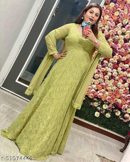 Breathtaking Pista Green Coloured Partywear Embrodeiry Georgette Gown