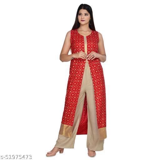 monty fashion rayon gold print  sleevles kurti with palazo