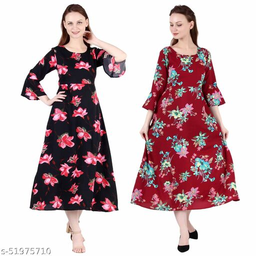 Giggles Creations A Line Dress with Inner Cotton Lining Black Pink Flower Printed and Maroon Prined Pack of 2