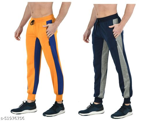 IndiStar Mens Solid Fleece Warm Trackpants/Lower with 2 Side Open Pockets (Pack of 2)