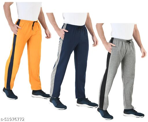 IndiStar Mens Fleece Warm Track Pants with 2 Side Open Pockets (Pack of 3)