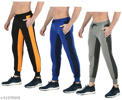 IndiStar Mens Solid Fleece Warm Trackpants/Lower with 2 Side Open Pockets (Pack of 3)