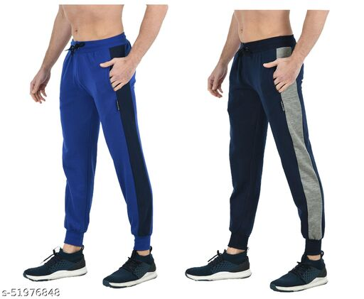IndiStar Mens Solid Fleece Warm Lower/Track Pants (Pack of 2)