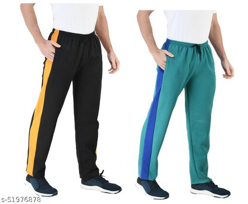 IndiStar Mens Fleece Warm Track Pants with 2 Side Open Pockets (Pack of 2)