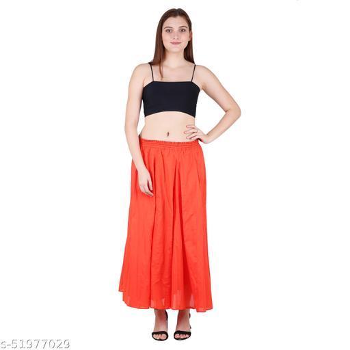 Litlu Orange Solid Cotton Long Skirt
