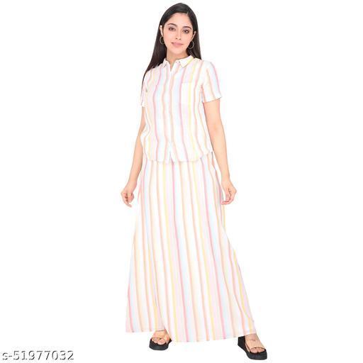 Litlu Cotton Stripe Woman Shirt & Skirt