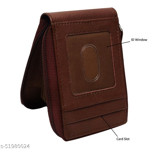 Genuine Leather Card Holder Wallet For Men,Atm & Debit Card Slot,Credit Card Bussiness & Metro Card Slot,Casual Formal Gift Leather Brown Zip Around Card Holder For Women