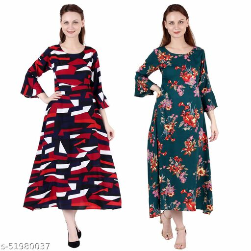 Giggles Creations A Line Dress with Inner Cotton Lining Abstract Print and Dark Green Printed Pack of 2