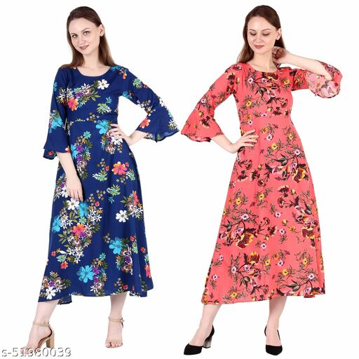Giggles Creations A Line Dress with Inner Cotton Lining Royal Blue Printed and Coral Printed Pack of 2