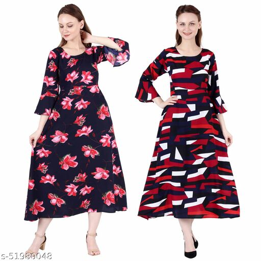 Giggles Creations A Line Dress with Inner Cotton Lining Blue Pink Flower Printed and Abstract Print Pack of 2