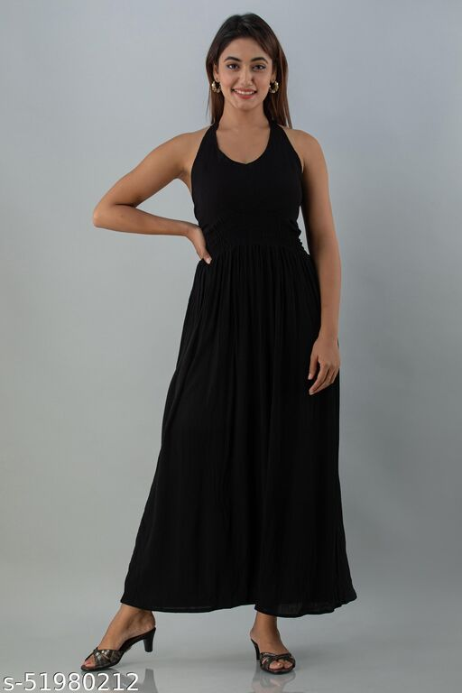 MAYERO Womens Crepe Western Wear Dress (Black)