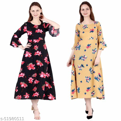 Giggles Creations A Line Dress with Inner Cotton Lining Black Pink Flower Printed and Mustard Printed Pack of 2
