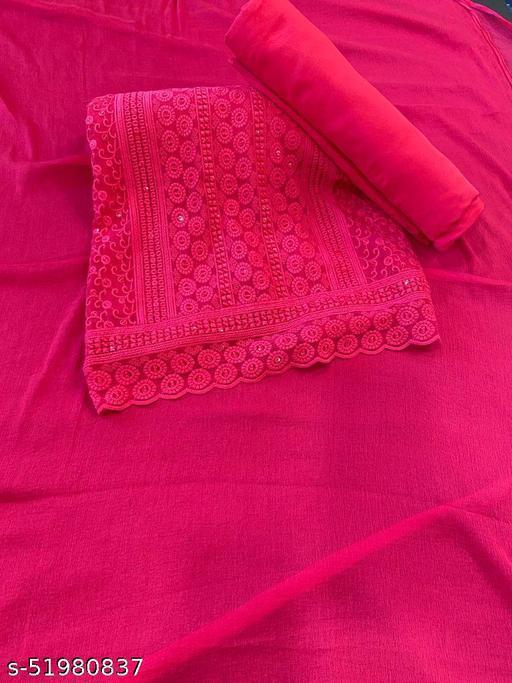 Pink Georgette Chikankari Salwar suit dress material with dupatta06