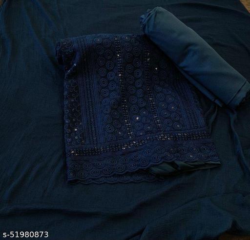 Blue Georgette Chikankari Salwar suit dress material with dupatta05