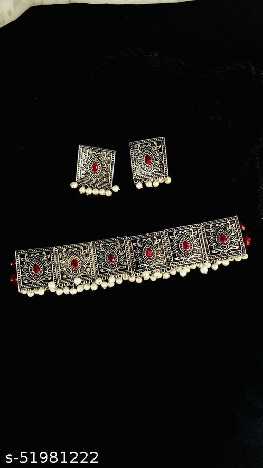 Pearl Square Oxidised Choker set with earrings