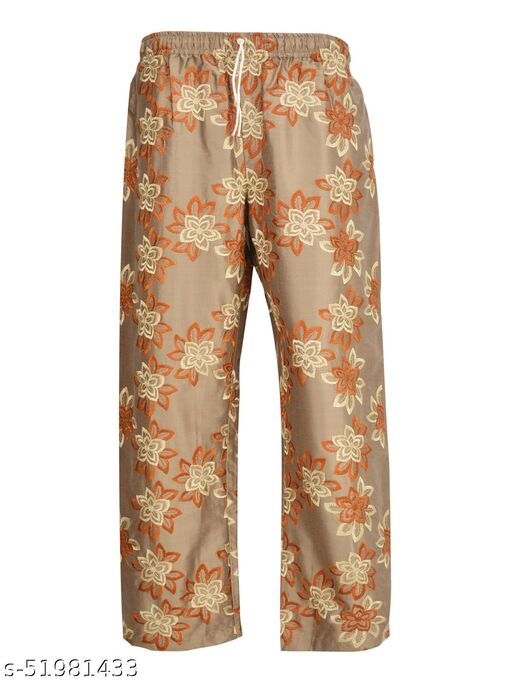 Women's Regular Fit Silk Blend Embroidery palazzo pant