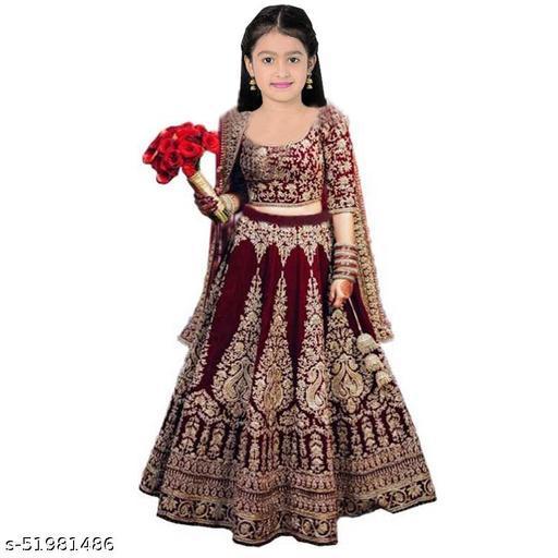 Kids Girls Traditional Lehanga Cholis(Semi-Stitched)