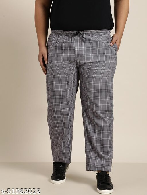 (Since 1958), Men's Cotton Grey & White Checked Track Pant