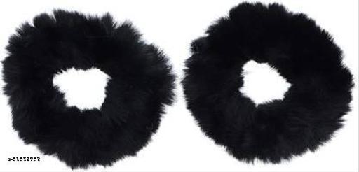 AZEFFIA Fur Elastic Fluffy Faux Rope Furry Ring Band Black Hair Scrunchie for Woman & Girls - 2 Pieces  Hair Accessories