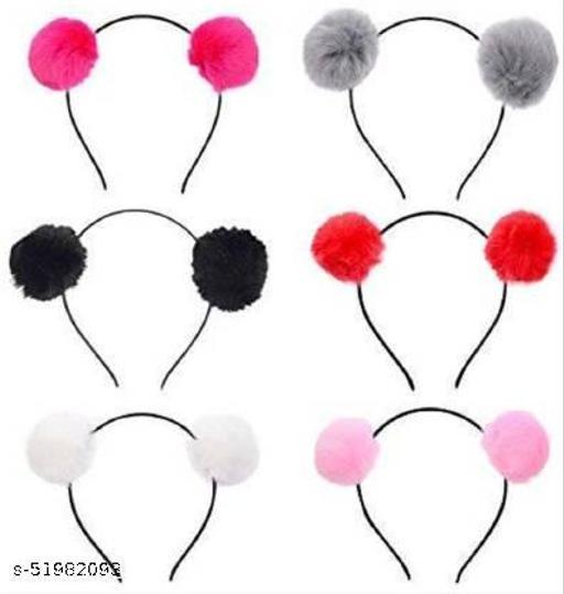 AZEFFIA Girls Fluffy Fur Ball Headband Pom Pom Ball Hair Band Hair Accessories (Random Color) Pack Of 6 Head Band  (Multicolor) Hair Accessories