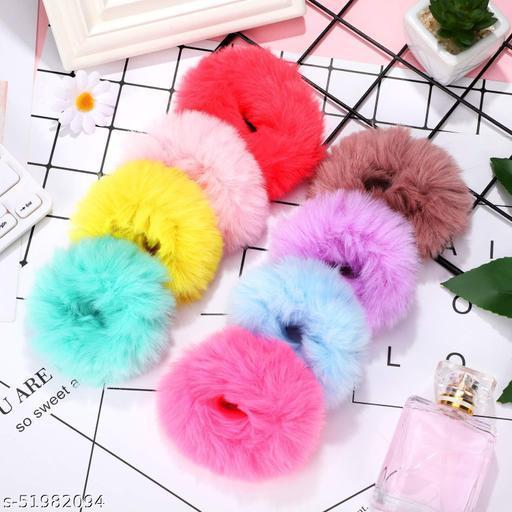 AZEFFIA Girls Fluffy Fur rubber band Headband Hair Band Hair Accessories (Random Color) Pack Of 12 (Multicolor)   Hair Accessories