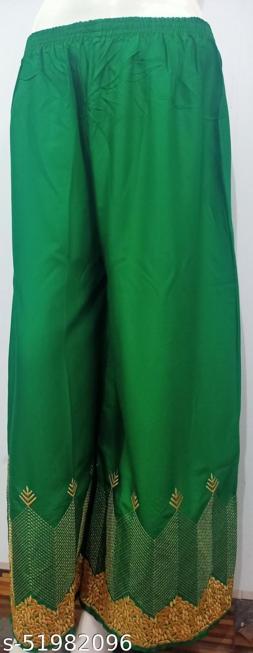 Camellias Stylish Golden Bottom Design Rayon Dark Green Palazzos for Women