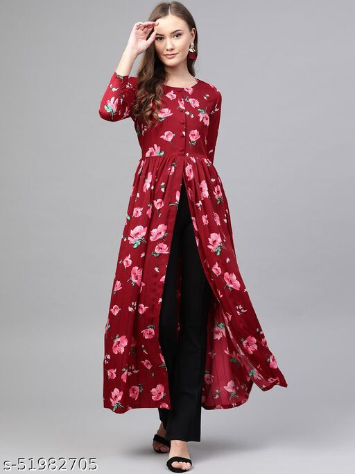 Stylish Burgundy & Pink Floral Print High Slit Maxi Drees
