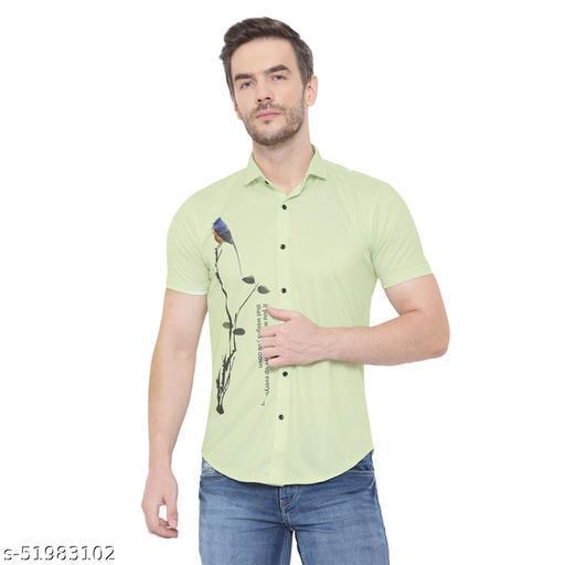 Premium HeartBin Men's Printed LycraCotton Casual Half Sleeve Shirt