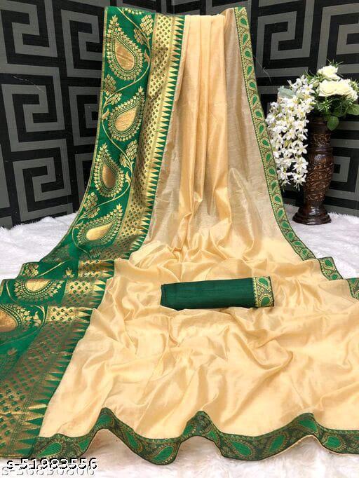 Asha Enterprise New Chanderi Cotton Green Lace Border saree Party Wedding Festive Saree .