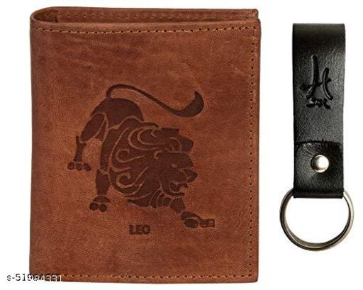 Hawai Leo Men's Leather Wallet with Keychain (LWFMP292_Tan)