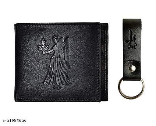 Hawai Aquarius Men's Wallet Leather with Keychain (LWFM185_Black)