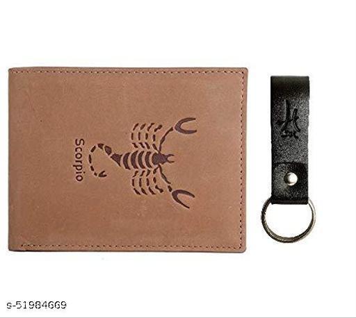 Hawai Scorpio Men's Leather Wallet with Keychain (LWFMP53_Tan)