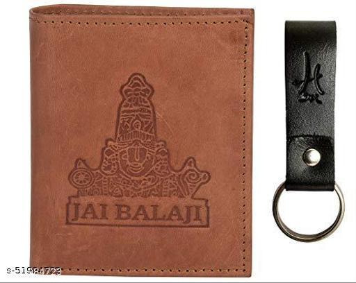 Hawai Jai Balaji Men's Leather Wallet with Keychain (LWFMP300_Tan)