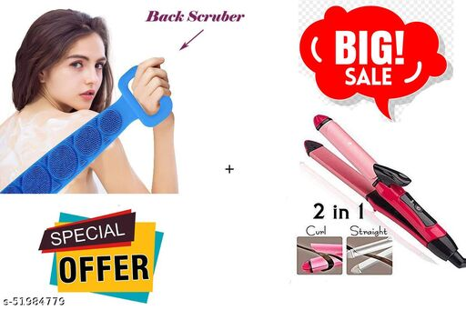 ARNAH TREASURE COMBO Offer 2 In 1 Hair Straightener Plus Curler Ceramic Plate, Pink WITH Silicone Body Back Scrubber, Double Side Bathing brush for Skin (1 Staightener + 1 Srubber)
