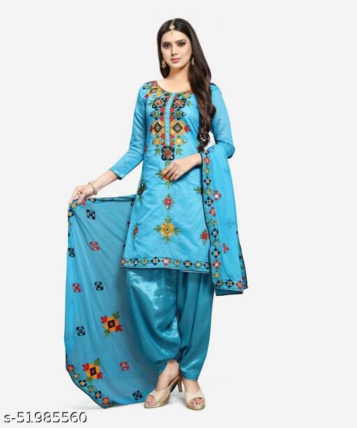 Cotton Silk Blend Applique Salwar Suit Dress Material