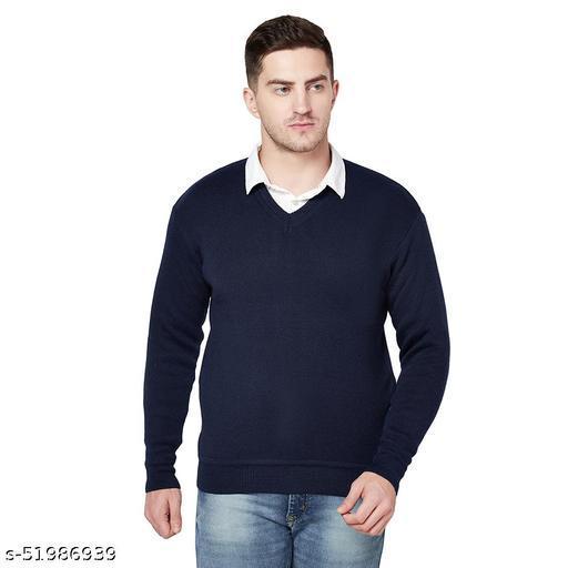 Grest Navy Blue Woolen Men's Sweater